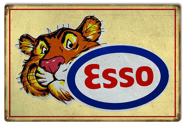Yellow ESSO Tiger Motor Oil Reproduction Sign 12″x18″