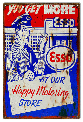 Distressed ESSO You Get More Motor Oil Reproduction Sign 12″x18″