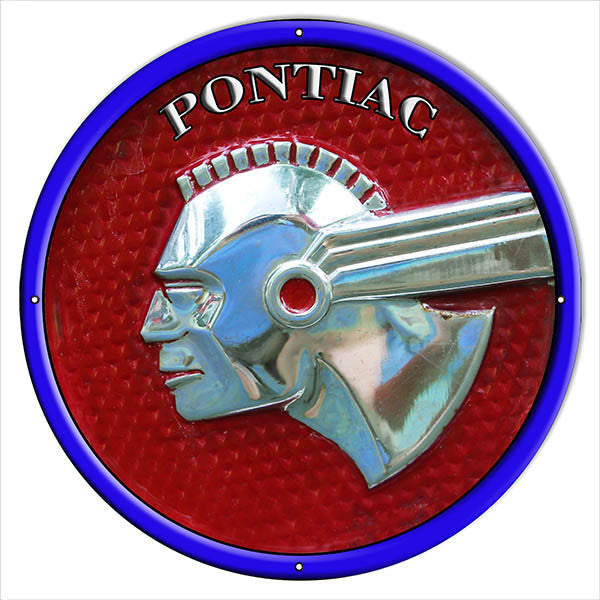 Extra Large Pontiac Garage Shop Reproduction Sign 24″ Round