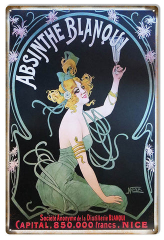 Absinthe Blanqui 850 Bar Reproduction Sign 12″X18″