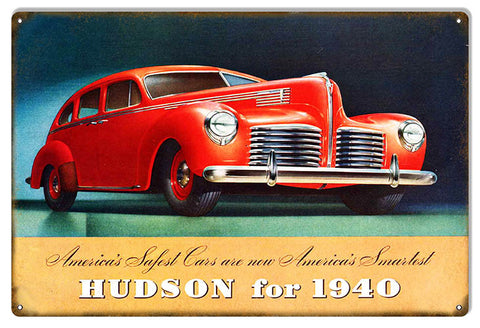 Red 1940 Hudson Garage Shop Reproduction Sign 12″x18″