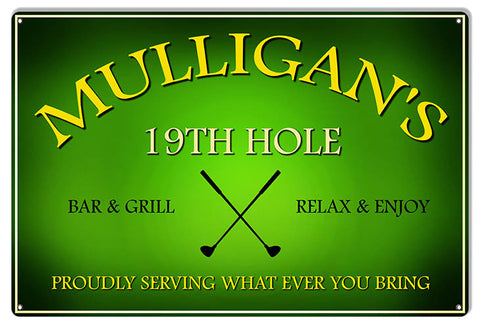 Mulligan's 19Th Hole Bar And Grill Bar Reproduction Sign 12″x18″