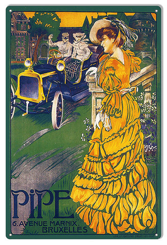 Pipe Vintage Belgian Automobile Reproduction Sign 12″X18″