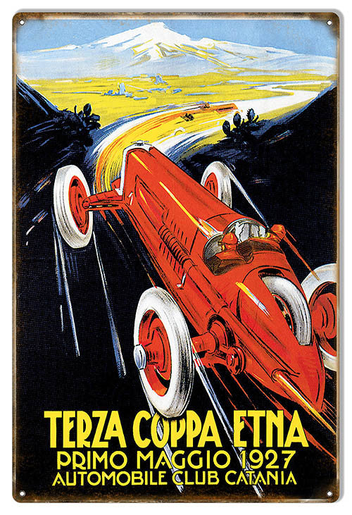 Terza Coppa Etna 1927 Motor Speedway Reproduction Sign 12″x18″