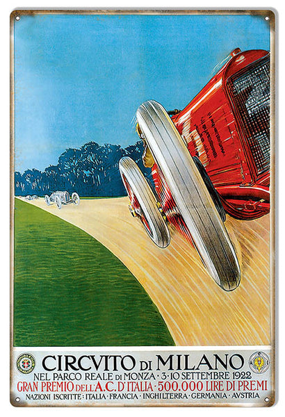 Circvito Di Milano 1922 Motor Speedway Reproduction Sign 12″x18″