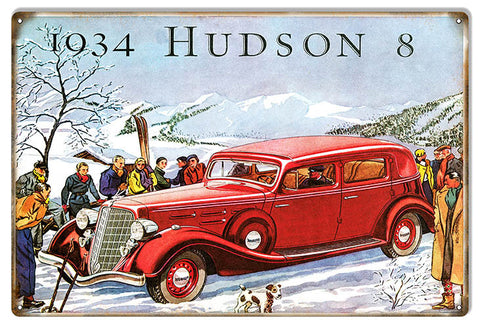 1934 Hudson 8 Garage Shop Reproduction Sign 12″x18″