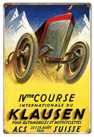 Internationale Klausen 1925 Motor Speedway Reproduction Sign 12″x18″