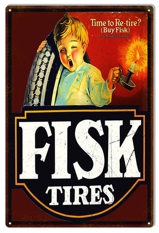 Large Aged Looking Tire Fisk Tires Gas Station Reproduction Sign 16″x24″