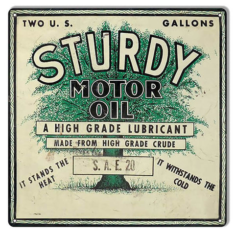 Sturdy Stands Heat Cold Motor Oil Reproduction Sign 12″x12″