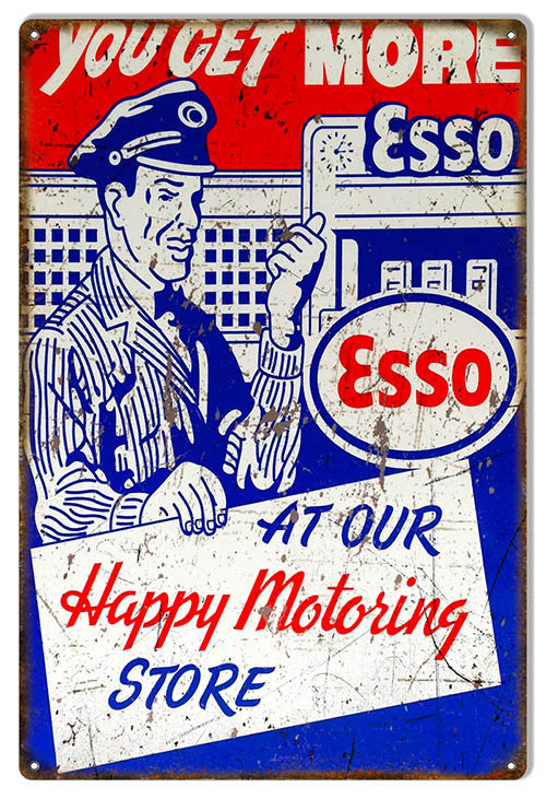 Distressed ESSO Happy MotoringMotor Oil Reproduction Sign 12″x18″