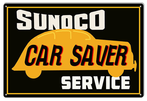 Sunoco Car Saver Service Gas Station Reproduction Sign 12″x18″