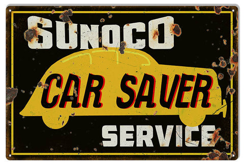 Large Distressed Sunoco Service Gas Station Reproduction Sign 16″x24″