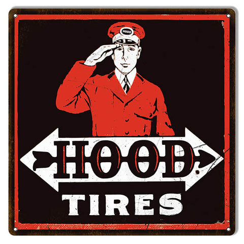 Aged Looking Black Red Hood Tires Gas Station Reproduction Sign 12″x12″