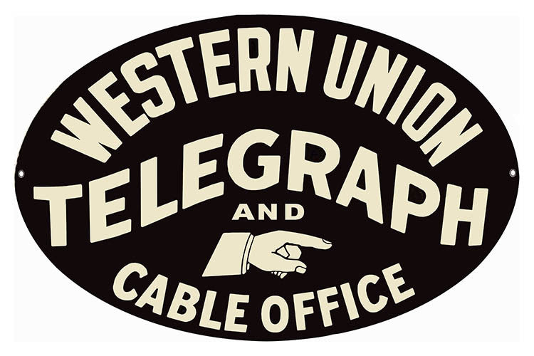 Western Union Telegraph Nostalgic Oval Reproduction Sign 11″x18″