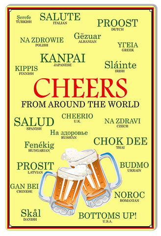 Cheers From Around The World Bar Reproduction Sign 12″x18″