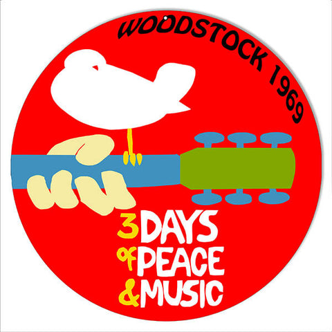 Woodstock 1969 Peace And Music Nostalgic Reproduction Sign 14″ Round