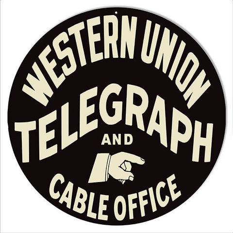 Telegraph Western Union Nostalgic Reproduction Sign 14″ Round