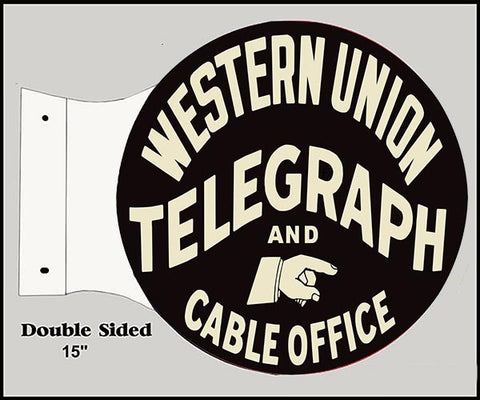 Cable Office Western UnionFlange Reproduction Sign 15″x17 1/2″