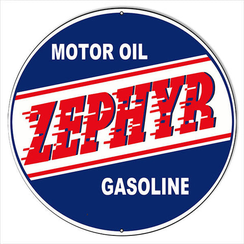 Large Zepher Gasoline Motor Oil Reproduction Sign 18″ Round