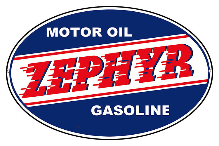 Oval Zephyr Gasoline Motor Oil Reproduction Sign 11″x18″