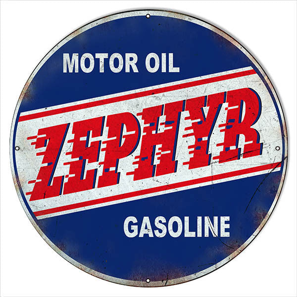 Zephyr Motor Oil Reproduction Round Metal Sign