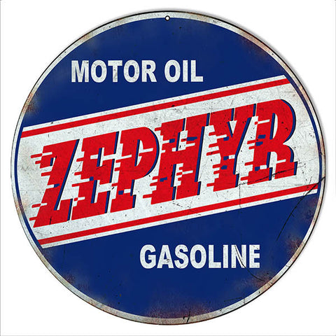 Distressed Zephyr Gasoline Motor Oil Reproduction Sign 14″ Round