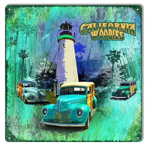California Woodies Reproduction Sign 12″x12″ By Artist Phillip Hamilton