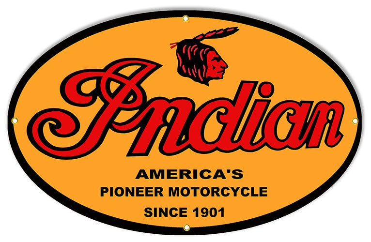 Indian 1901 Pioneer Motorcycle Reproduction Sign 15″x24″ Oval
