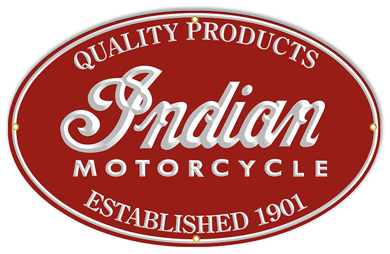 Quality Products Indian Motorcycle Reproduction Sign 15″x24″