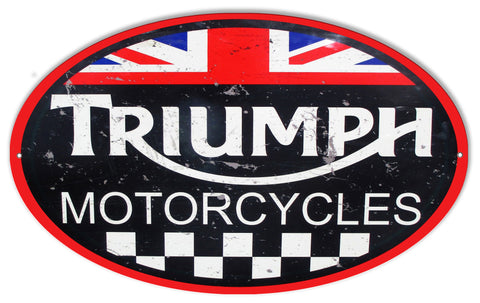 Large Triumph Motorcycles Reproduction Garage Shop Metal  Sign 11″x18″ Oval