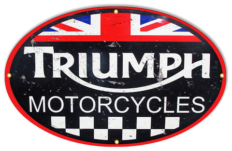 Aged Looking Triumph Motorcycle Reproduction Sign 15″x24″ Oval