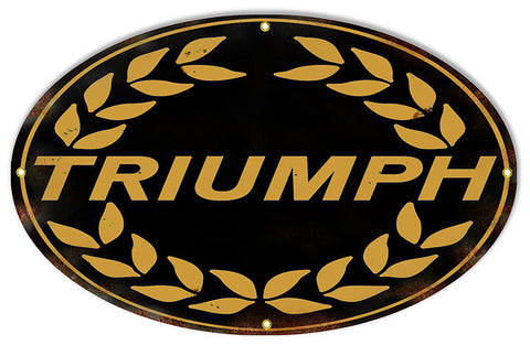 Aged Looking Black Triumph Motorcycle Reproduction Sign 15″x24″ Oval