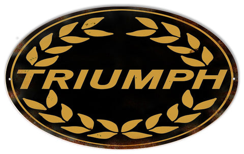 Black Triumph Motorcycle Reproduction Metal  Sign 9″x14″ Oval