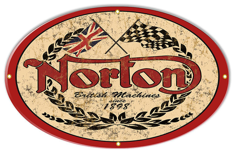 Distressed Norton1898 Motorcycle Reproduction Sign 15″x24″ Oval