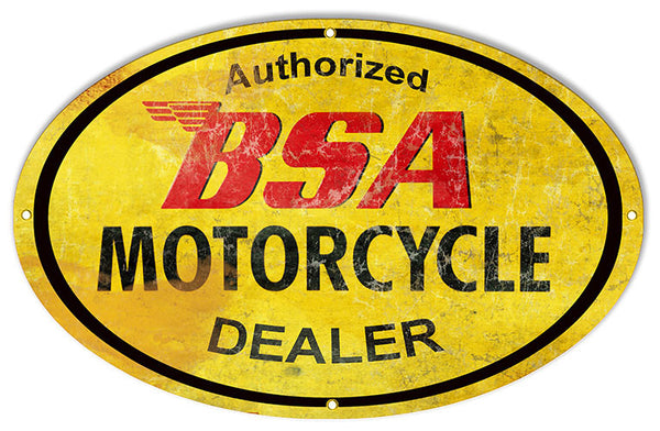 Aged Looking BSA Dealer Motorcycle Reproduction Sign 15″x24″ Oval
