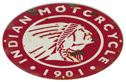 Distressed Red Indian 1901 Motorcycle Reproduction Sign 15″x24″ Oval