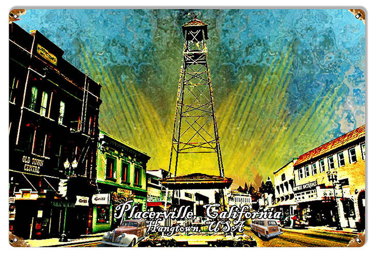 Bell Tower Placerville Reproduction Sign By Artist Phil Hamilton 12″x18″