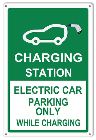 Electric Car Parking Only Garage Shop Reproduction Sign 12″x18″