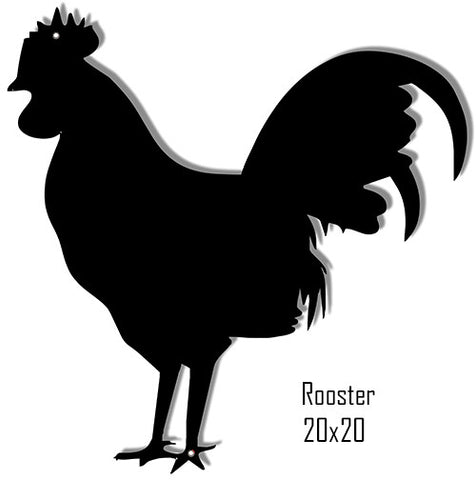 "Rooster Black Laser Cut Out Reproduction Sign 15""x15"""