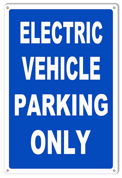 Blue Electric Vehicle Parking Reproduction Sign 12″x18″