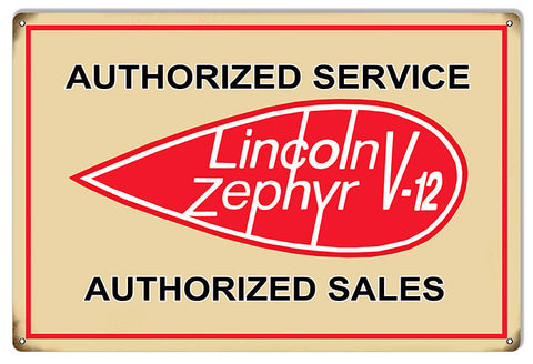 Large Lincoln Zephyr V-12 Gas Station Reproduction Sign 16″x24″