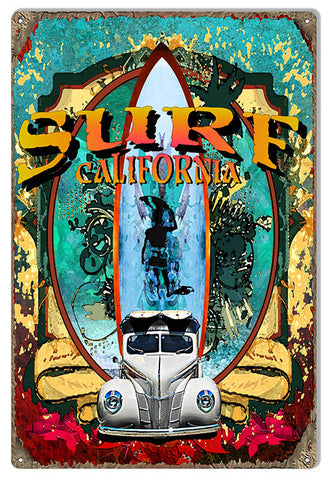 VW Surf California Reproduction Sign By Artist Phil Hamilton 12″x18″