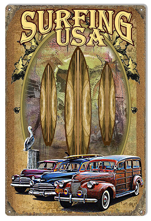 Surfing USA Reproduction Sign By Artist Phil Hamilton 12″x18″