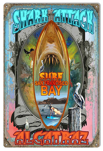 San Francisco Bay Shark Reproduction Sign By Artist Phil Hamilton 12″x18″
