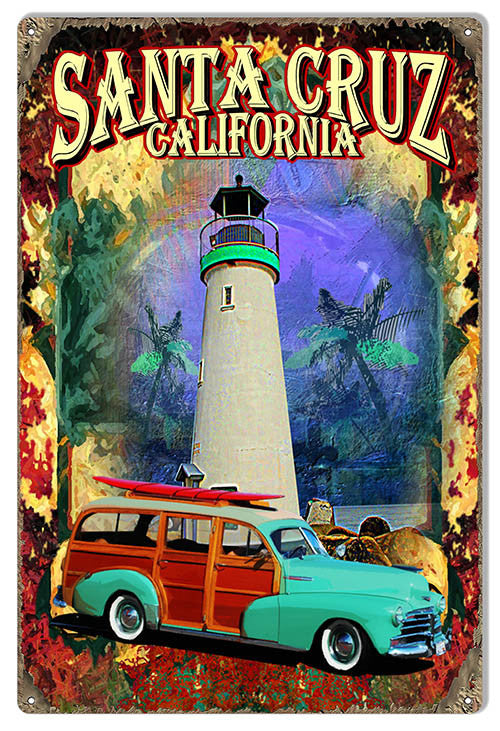 Car Santa Cruz Ca. Reproduction Sign By Artist Phil Hamilton 12″x18″
