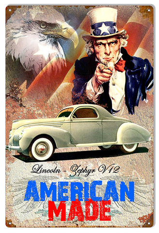 American Made Lincoln Zephyr V12 By Artist Phil Hamilton 12″x18″