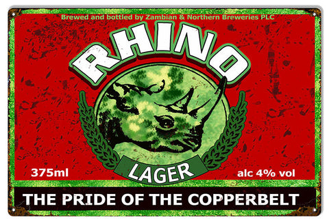 Rhino Lager Copperbelt Bar Reproduction Sign 12″x18″
