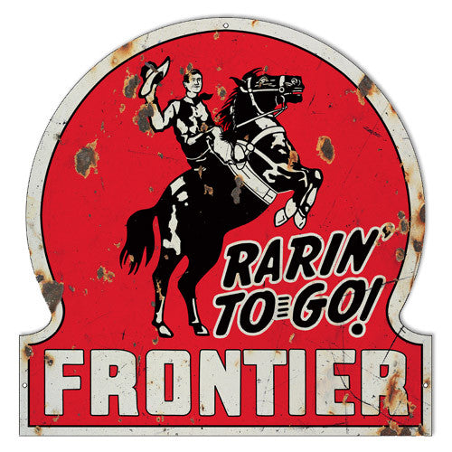Distressed Frontier Motor Oil Laser Cut Out Reproduction Sign 18″x18″