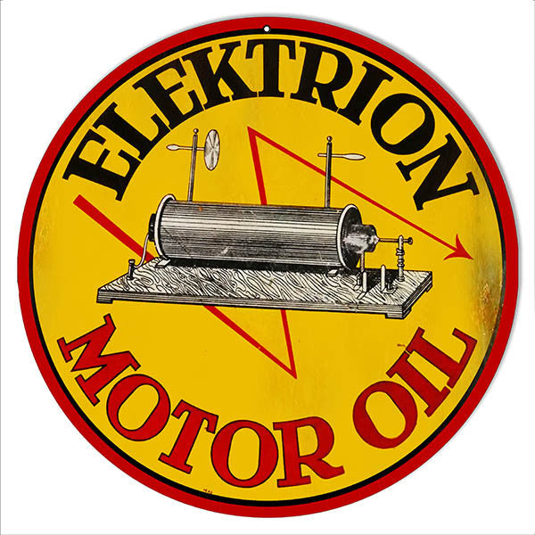 Aged Elektrion Motor Oil Garage Shop Reproduction Sign 14″ Round