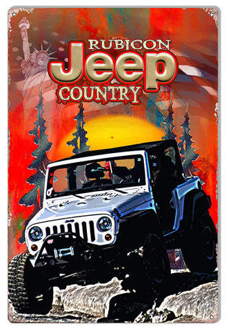 Rubicon Country Jeep Reproduction Sign By Artist Phil Hamilton 12″x18″